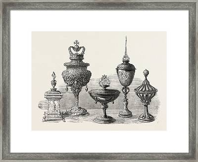 Objects Of Art And Antiquity Exhibited At Ironmongers Hall Framed Print by English School
