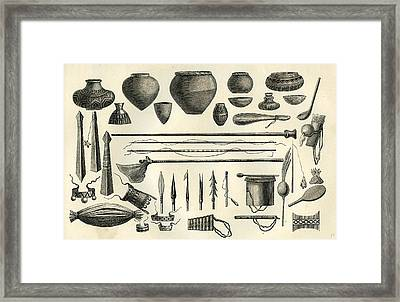 Objects Of The Chontaquiros Indians 1869 Peru Framed Print
