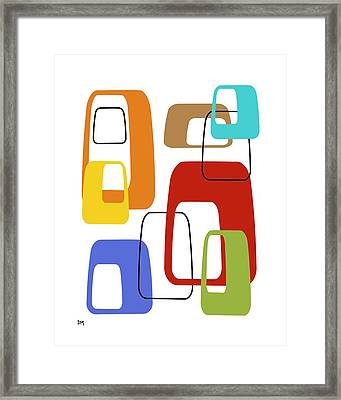 Framed Print featuring the digital art Oblongs On White 4 by Donna Mibus