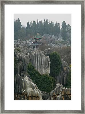 Observation Tower On Limestone Framed Print