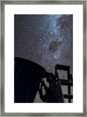 Observer & Telescope At Ozsky Star Party Framed Print by Alan Dyer