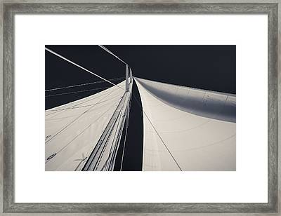 Obsession Sails 1 Black And White Framed Print by Scott Campbell