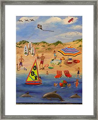 Framed Print featuring the painting Obx Beach by Catherine Hamill