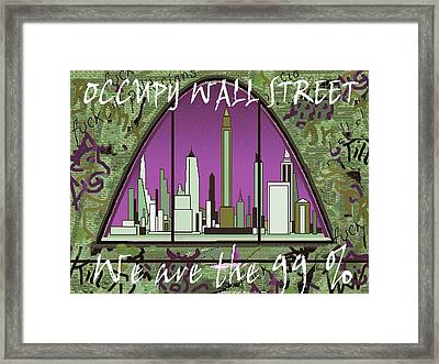 Occupy Wall Street 99 Percent - New York Graffiti Framed Print
