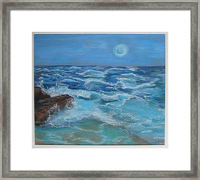 Framed Print featuring the drawing Ocean 1 by Joseph Hawkins