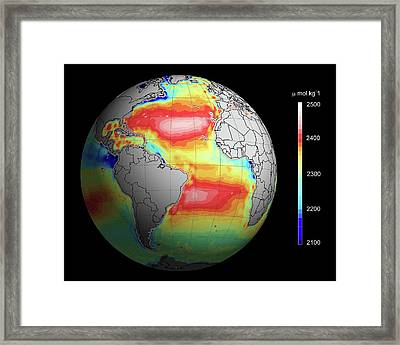 Ocean Alkalinity Framed Print by Ifremer/european Space Agency/cnes