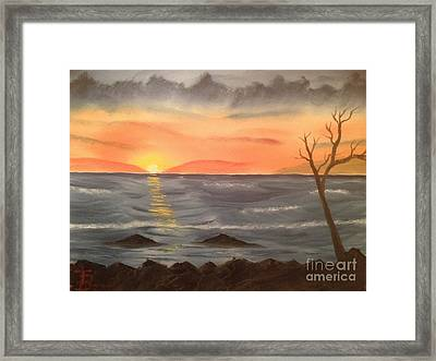 Ocean At Sunset Framed Print by Tim Blankenship