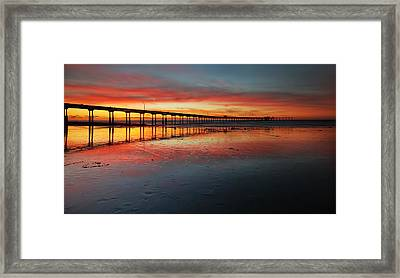 Ocean Beach California Pier 3 Panorama Framed Print by Larry Marshall