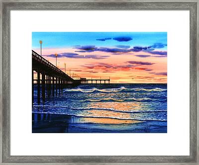 Ocean Beach Sunset Framed Print by John YATO