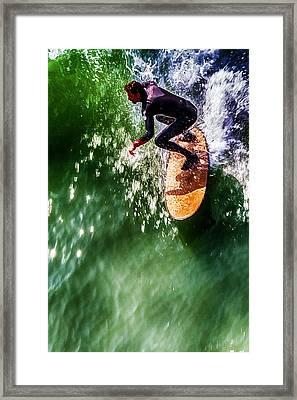 Ocean Beach Surfer Framed Print by John Haldane