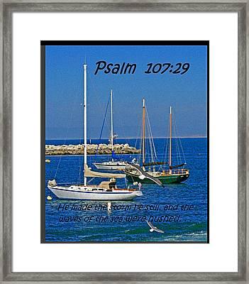 Ocean Birds -  Calm Sea - Psalm 107-29 Framed Print by Joseph Coulombe