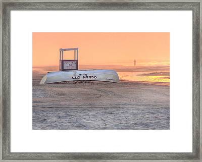 Ocean City Beach Patrol Framed Print by Lori Deiter