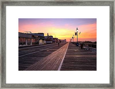 Ocean City Boardwalk Sunrise Framed Print