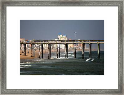 Framed Print featuring the photograph Ocean City Fishing Pier In January by Bill Swartwout