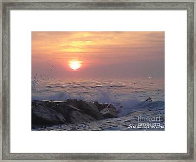 Framed Print featuring the photograph Ocean City Inlet Jetty At Sunrise by Robert Banach