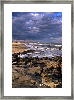 Ocean City Jetty Framed Print