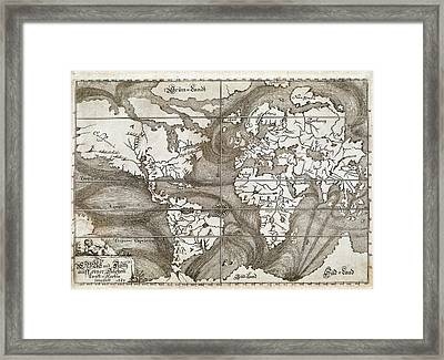 Ocean Currents Global Map Framed Print by British Library