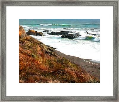 Ocean Foam At Shoreline Framed Print by Elaine Plesser