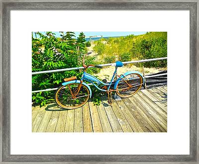 Ocean Grove Bike Framed Print by Joan Reese