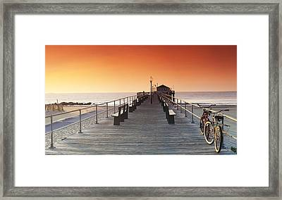 Ocean Grove Jetty In Nj Framed Print by Sean Davey