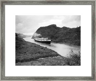 Ocean Liner In Panama Canal Framed Print by Underwood Archives