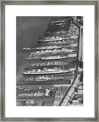 Ocean Liners At Nyc Dock Framed Print