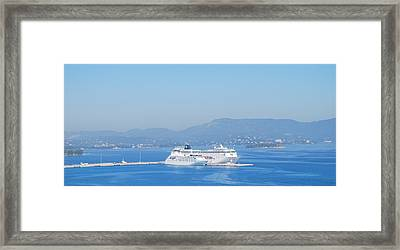 Ocean Liners In Corfu Framed Print by George Katechis