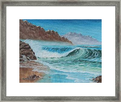 Framed Print featuring the painting Ocean Mist by Val Miller