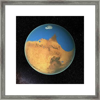 Ocean On Early Mars Framed Print by Nasa's Goddard Space Flight Center