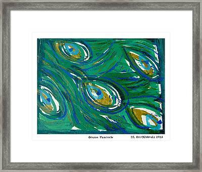 Ocean Peacock Framed Print by Jennifer Schwab