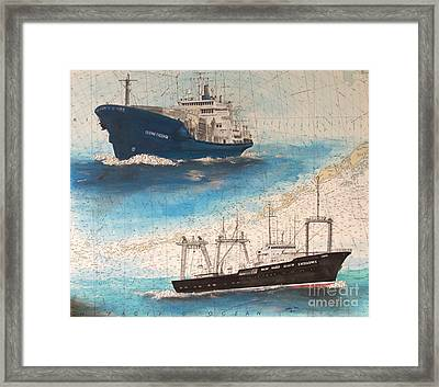 Ocean Phoenix And Excellence Boat Nautical Chart Map Art Framed Print by Cathy Peek