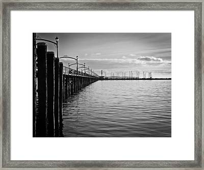 Ocean Pier In Black And White Framed Print