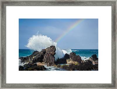 Ocean Rainbow Explosion Framed Print by Jen Morrison