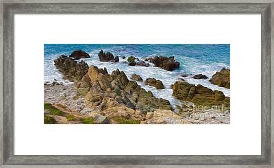Ocean Rocks In Puerto Vallarta Mexico Framed Print