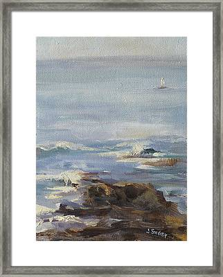 Ocean Rocks With Sailboat Framed Print