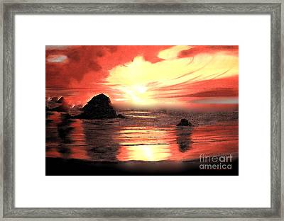 Ocean Shore On Canvas Framed Print