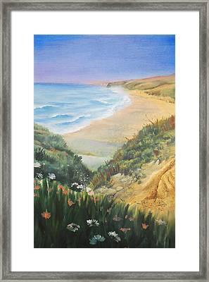 Ocean Shore Through The Hills Framed Print by Irina Sztukowski