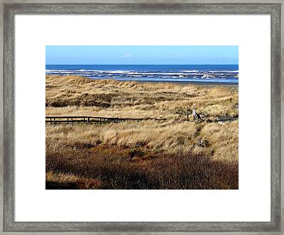 Framed Print featuring the photograph Ocean Shores Boardwalk by Jeanette C Landstrom
