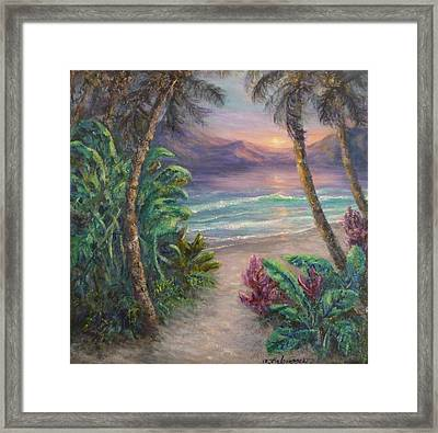 Ocean Sunrise Painting With Tropical Palm Trees  Framed Print