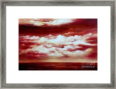 Ocean Sunset - Abstract Oil Painting Original Modern Contemporary Art House Wall Deco Framed Print by Emma Lambert