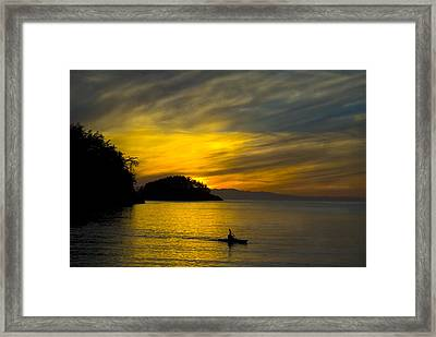 Ocean Sunset At Rosario Strait Framed Print by Yulia Kazansky