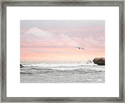 Ocean Sunset Framed Print by Kathy Churchman