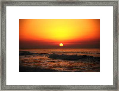 Ocean Sunset Framed Print by Manu G