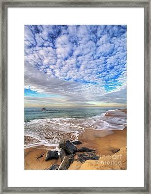 Ocean Touches The Sky Framed Print by Eddie Yerkish
