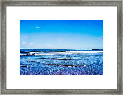 Ocean Trail At Isla Verde Framed Print by Sandra Pena de Ortiz