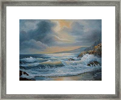 Ocean Under The Evening Glow Framed Print