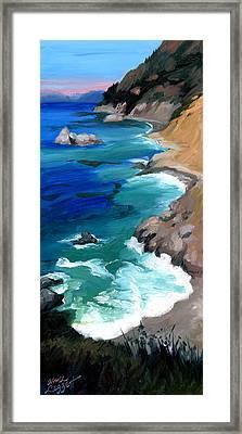 Ocean View At Big Sur Framed Print by Alice Leggett