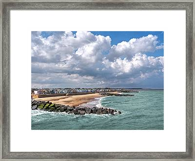 Ocean View - Colorful Beach Huts Framed Print by Gill Billington