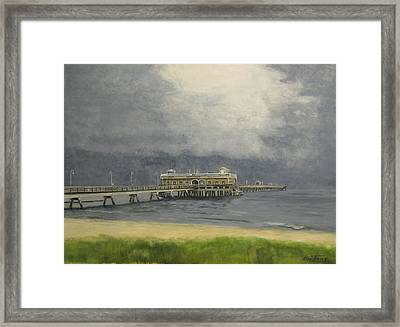 Framed Print featuring the painting Ocean View Pier by Stan Tenney