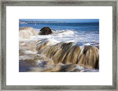 Ocean Waves Breaking Over The Rocks Photography Framed Print